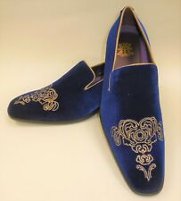 bce94fe29ca Mens Royal Blue Gold Emperor Embroidered Dress Loafers Shoes After Midnight  6823