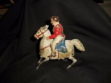 """Vintage German Gunthermann Tin Painted Wind Up horse with rider 4 1/2"""""""