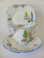Royal Albert Crown China Trio, Hand Painted Art Deco Tea Cup, Saucer & Plate
