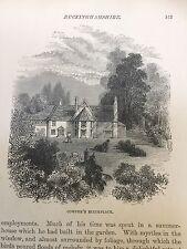 c.1850 Print of William Cowper's birthplace in Berkhampstead, Herts
