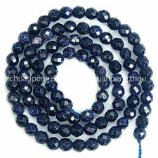 Natural 4mm Faceted Blue Sand Stone Round Beads 15inch