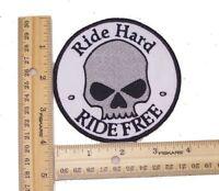 RIDE FREE RIDE HARD HALF SKULL PATCH FOR BIKER MOTORCYCLE JACKET VEST LARGE NEW