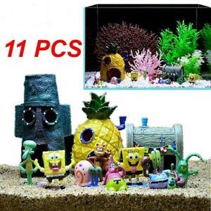 11PCS Fish Tank Ornaments Aquarium Decorations Fish Bowls SpongeBob Squarepants