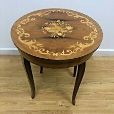 More details for small italian 'sorrento gabriella' vintage wooden inlaid music box table floral