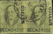 J) 1861 Mexico, Hidalgo, Un Real, Pair, Mexico District, Circular Cancellation,