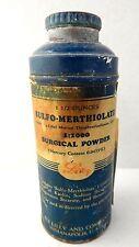 Vintage Eli Lilly Sulfo-Merthialate Powder in Tin Shaker Bottle
