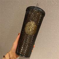 Starbucks China 2020 Black Gold Slick Diamond Studded Tumbler Straw Cup 24oz US