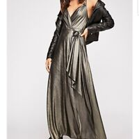 Free People Gold Black Let It Shine Maxi Slip Wrap Dress By Intimately Size S