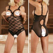 Sexy Lingerie Open Breasts Bra Crotchless Lace Teddy Nightwear Sleepwear