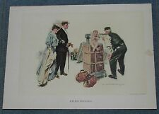 Antique Print by Howard Chandler Christy Titled Excess Baggage,1905