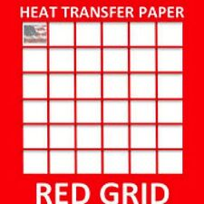 "INKJET TRANSFER PAPER RED GRID IRON ON LIGHT FABRICS T SHIRT  50 PK 8.5""X11"" #1"