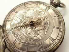 RARE C. 1800 VERGE FUSEE POCKET WATCH W/ SILVER CHRISTIAN RELIGIOUS DIAL ~RUNS~