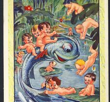 Disney Water-Babies Ride Bucking Fish,Swim In Lily Pad Pond,Vintage,Postcard