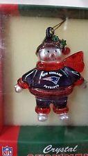 NFL New England Patriots Crystal Snowman Ornament, NEW