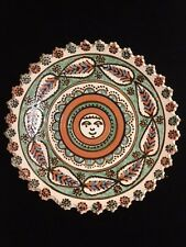 "Handmade Clay Pottery Bowl Aztec Sun Face Signed 95 Beautiful Stoneware 9.5"" x 1"