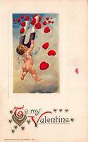 Winsch Art Valentine Postcard Cupid Cherub Catching Hearts with a Magnet~109660