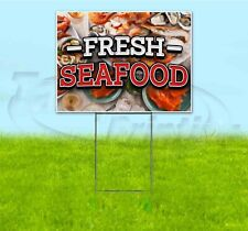 FRESH SEAFOOD 18x24 Yard Sign WITH STAKE Corrugated Bandit USA BUSINESS FOOD