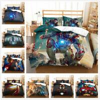 3D Iron Man Duvet Cover and Pillowcase Bedding Set Anime Quilt/Comforter Cover