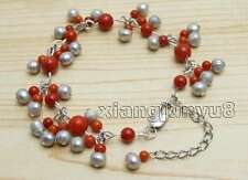 Small 5-6mm Gray Round Natural Pearl with 3-6mm Red Coral 7-9'' bracelet-bra384