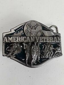 Vtg Belt Buckle American Veteran Silver Metallic Color Siskiyou Buckle Co 1988