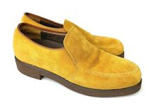 Vintage Hush Puppies Shoes Women's 7.5 Us / 5.5 Uk Yellow Mustard Suede Loafers