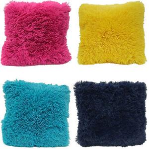 "Super Soft Faux Fur Decorative Filled Throw Pillow Cushion 16"" X 16"""