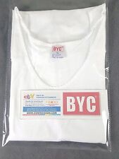 NWT 1 X BYC WOMEN 100% COTTON WHITE TANK TOP UNDERSHIRT MADE IN KOREA SZ XL