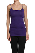 TheMogan Long Basic Sphagetti Strap CAMI TANK TOP Layering Plain 35 Colors S-3