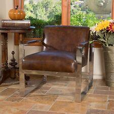 Mid-Century Modern Design Steel Frame Brown Top Grain Leather Chair