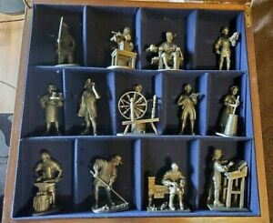 Vintage 1975 Franklin Mint Colonial America Pewter Lot Complete Set Mahogany Box