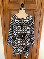 Alfred Dunner Woman Tunic Shirt 20 W Blouse Silky Polyester Top 3/4 Sleeves
