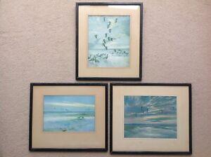 3 x Peter Scott Framed Flying Bird Prints 1939 & 1940 Pigeons Ducks