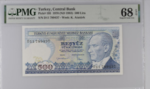 Turkey 500 Lira 1970/1983 P 195 Superb Gem UNC PMG 68 EPQ Top Pop