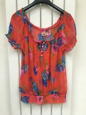 Womans summer trendy floral Hollister gypsy top size Medium