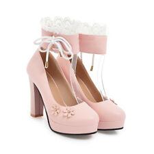 Süß Pumps Damenschuhe Japanischen Schuhe Blumen Lesbie Cosplay Heels Gr:33-43