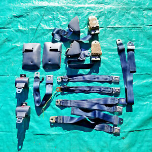 OEM 1974 Cadillac Front Bench and Rear Seatbelt Lot BLUE