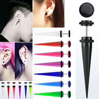 1-2 Pairs Illusion Fake Acrylic Taper Gauges & Rubber O-Rings For Pierced Ears