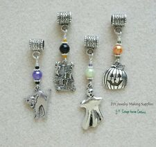 Halloween European Bead Charms Cat Haunted House Ghost Jack o Lantern 4pc set