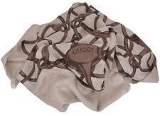 New Gucci Women's 367222 Brown Modal Wool Horsebit Logo Pattern Scarf Wrap