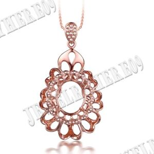 Pave Prong Oval 1.5x9.5mm Natural SI/H Diamonds Fine Pendant Solid 10K Rose Gold