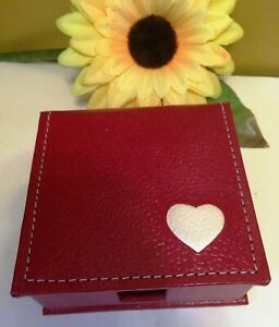"Arcadia Eco-Friendly Red Heart Logo Vege Leather Case Paper Memo Holder 4"" x 4"""