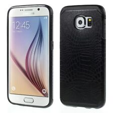 Samsung Galaxy S6 G920 TPU Hybrid Case Croco Muster Design Schutz Hülle Schwarz