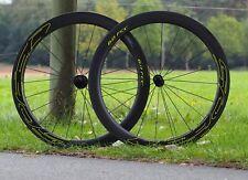 Veltec Speed 6.0 full carbon Clincher amarillo flúor, ruedas bicicleta de carreras, Wheels
