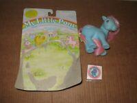 My Little Pony Bow tie G1 blue pink silky hair1983 w/sticker