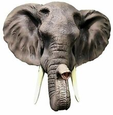 Large Realistic Elephant Pachyderm Bust Wall Plaque Statue Hunter Home Figurine