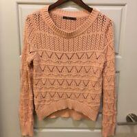 Hazel Womens Stylish Pink Chunky Knit Long Sleeve Sweater Sz M Scoop Neck