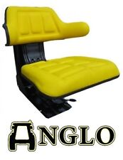 Tractor Seat Sprung Armrest Comfortable Backrest Suspension Yellow