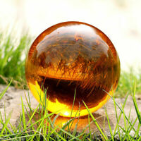 40mm + Stand Asian Rare Natural Quartz Amber Magic Crystal Healing Ball Sphere