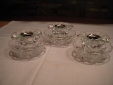 Lot of 3 Crystal Petal Flower Glass Candle Holders and Crisscross Bobeche 6 Pcs.