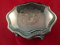 Lion Crested Ornate Silver Plate Hinged/Lion Footed Trinket Box
